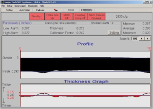 Typical operator screen showing the thickness and profile of the weld zone.
